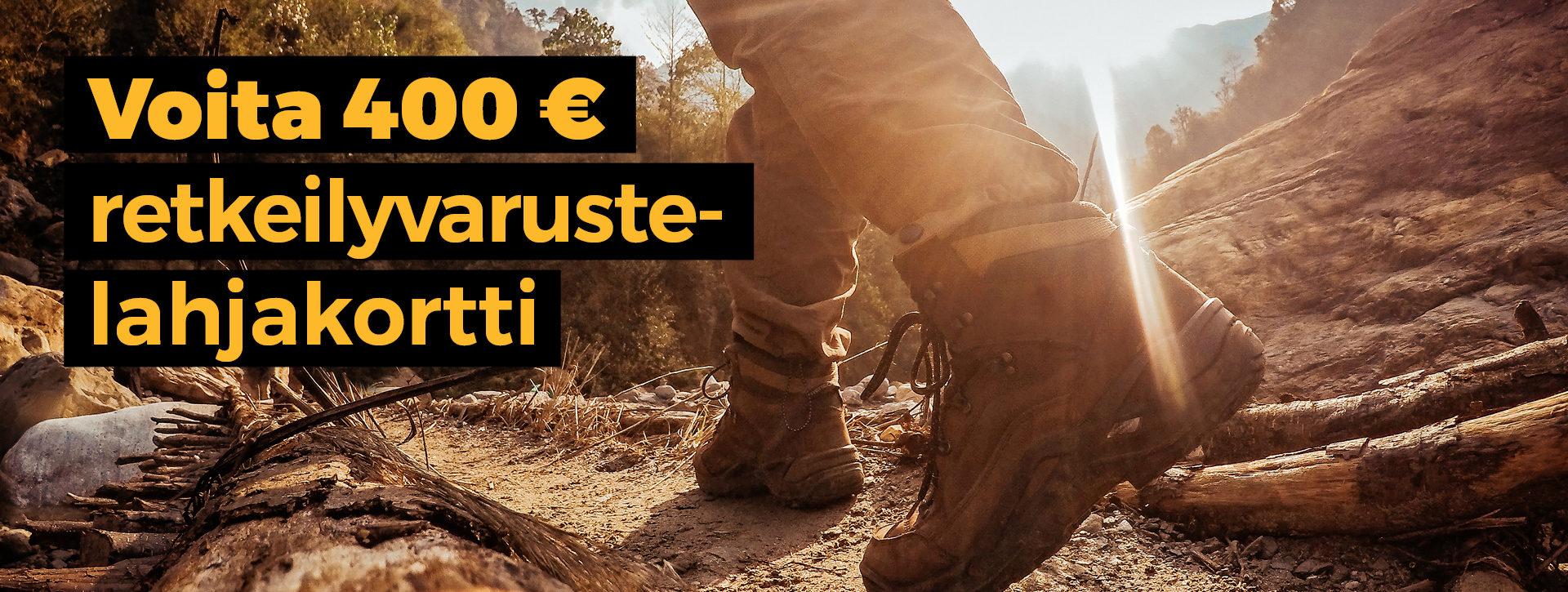 Voita 400 € retkeilyvarustelahjakortti