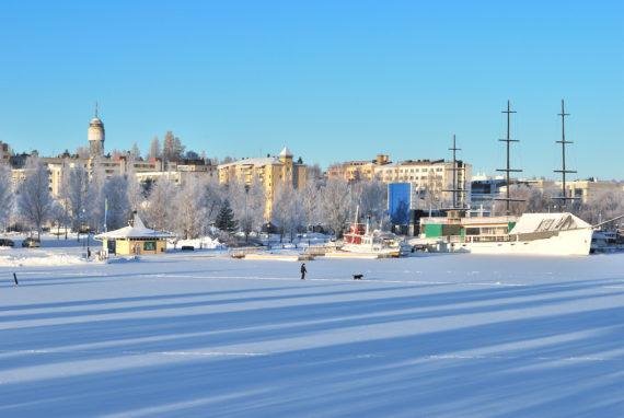 Finland. View of the town of Mikkeli and frozen lake in a sunny winter day