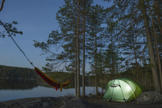 Tent camp for two backpackers in Repovesi National Park in Finland.