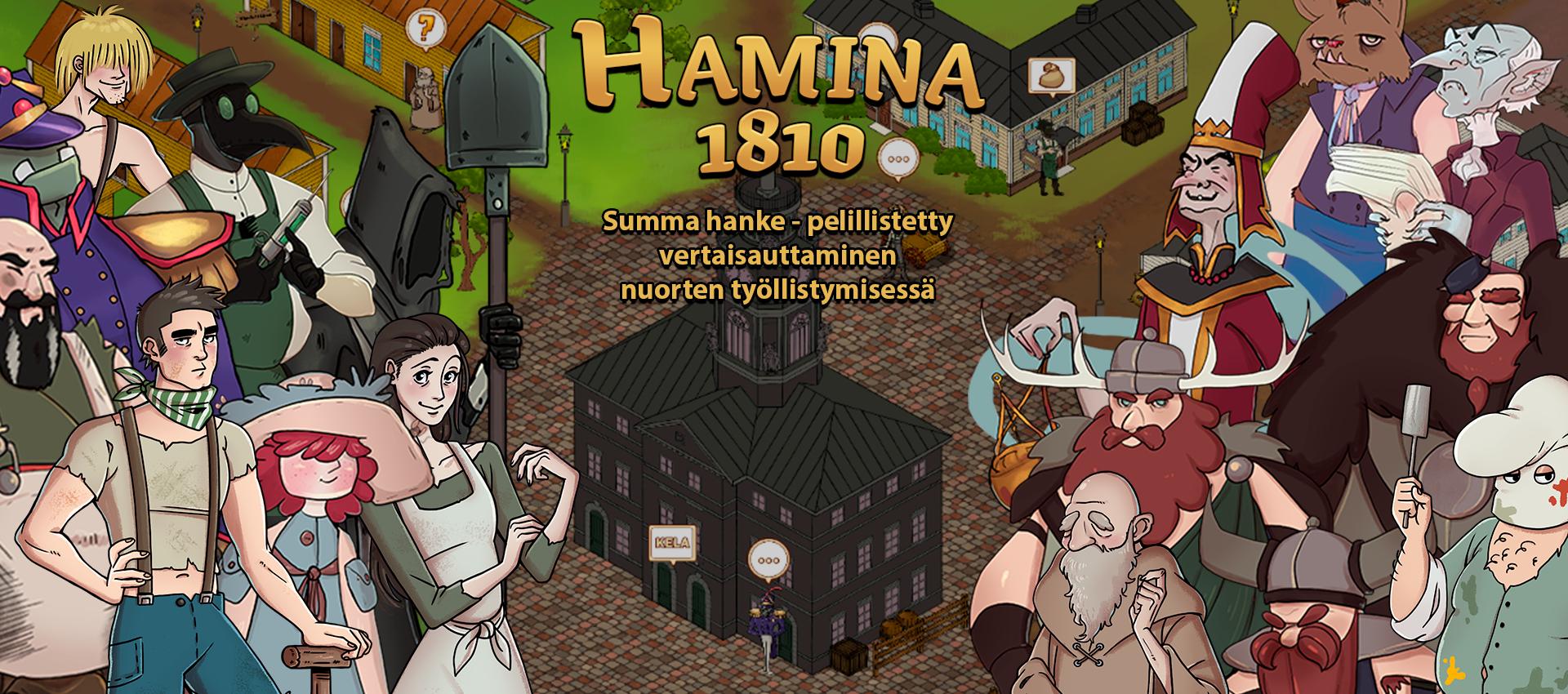 Hamina 1810 pelin kuva. Kuvassa vasemmalla ja oikealla pelihahmoja ja taustalla Haminan raatihuone.