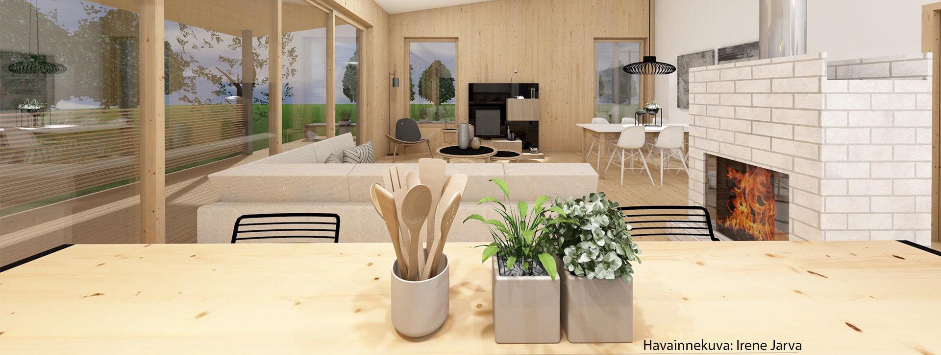 Kuvassa näkyy vaaleasta puusta rakennettu olohuone. Oikealla seinustalla on takka, vasen seinä on ikkunaa. Etualalla on saarekepöytä, jossa on purkissa puisia kauhoja ja paisitinlastoja. Lisäksi kahdessa purkissa on yrttejä.
