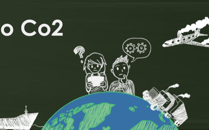 Zero Co2 bannerikuva. Kuvassa liitutaulu, jolle on piirretty maapallo. Maapallon ympärillä on Laiva, lentokone ja rekka. Maapallon päällä on kaksi mietteliään näköistä opiskelijaa.