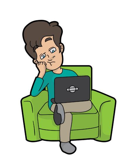 Bored_Cartoon_Man_Using_A_Computer