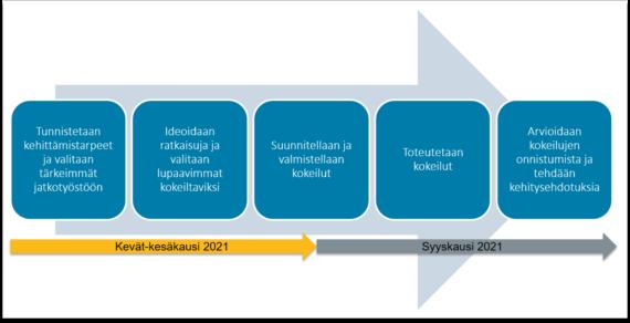 Kuvaus Ikäruoka-kehittämisyhteistyön prosessista Etelä-Savon pilottialueilla Juvalla ja Mäntyharjussa. Kevätkaudella 2021 tunnistetaan alueellisia kehittämistarpeita ja valitaan niistä tärkeimmät jatkotyöstöön. Sen jälkeen ideoidaan ratkaisuja ja valitaan niistä lupaavimmat käytännössä kokeiltaviksi. Syyskaudella 2021 valmistellaan ja toteutetaan kokeilut. Lopuksi arvioidaan kokeilujen onnistumista ja tehdään kehitysehdotuksia jatkoa varten.