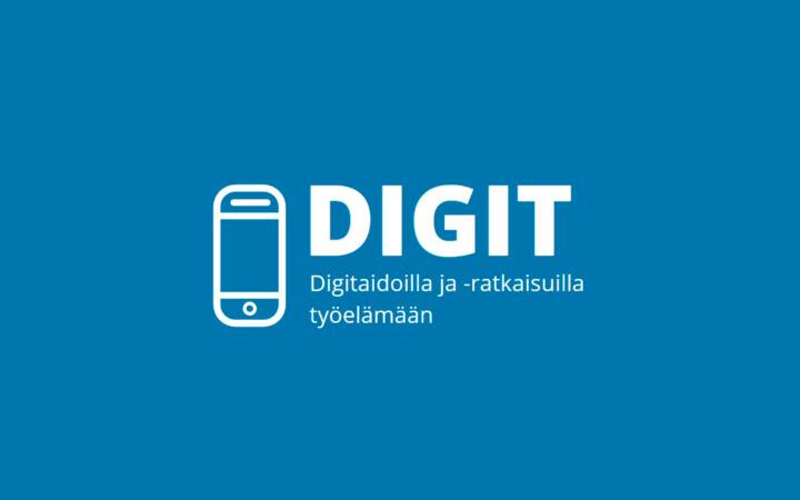 Vaalean sinisellä taustalla valkoiselle tekstillä Digit -hankkeen logo