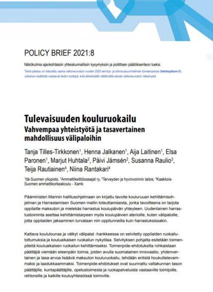 Tulevaisuuden kouluruokailu policy briefin etusivu