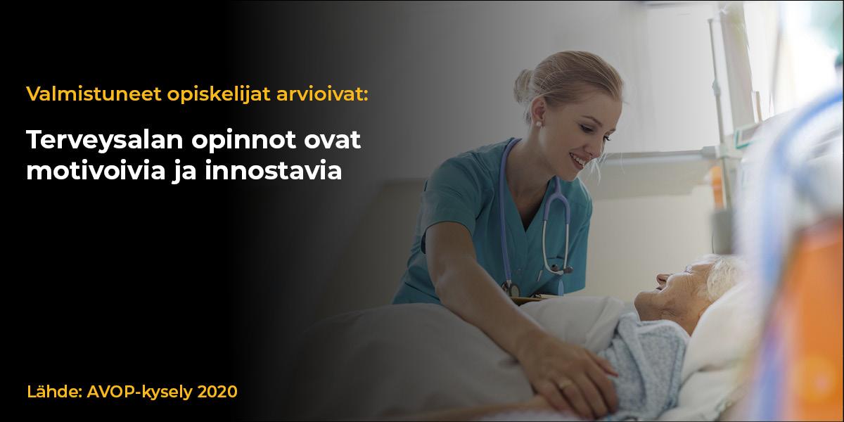 Infograafikuvassa sairaanhoitaja kumartuu sängyssä makaavan vanhuksen puoleen. Tekstinä kuvassa Valmistuneet opiskelijat arvioivat: Terveysalan opinnot ovat motivoivia ja innostavia. Lähde AVOP-kysely 2020.