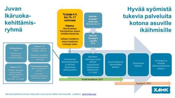 Ti 4.5. klo 15–17 järjestettävä verkkotyöpaja on osa Juvan Ikäruoka-kehittämisryhmän toimintaa. Se on seuraava askel yhteistyössä, jossa edetään yhdessä ideoiden kohti syksyllä 2021 toteutettavia käytännön palvelukokeiluita.