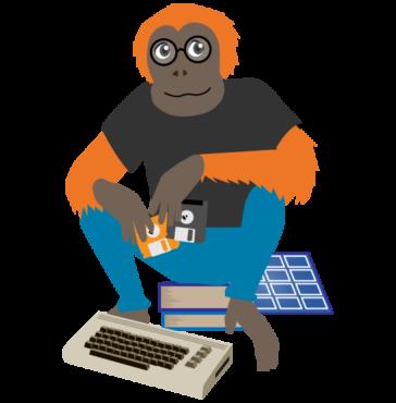 Oranki istuu kirjojen päällä. Kädessä vanhoja levykkeitä, jotka sopivat lattialla olevaan tietokoneeseen.