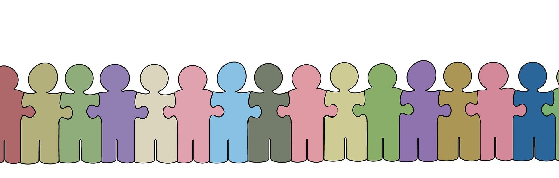 värikkäitä piirroskuva ihmishahmoja kiinni toisissaan kuin palapelin palat