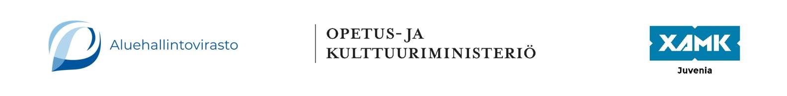 Aluehallintoviraston, Opetus- ja kulttuuriministeriön sekä Xamk/Juvenian logot
